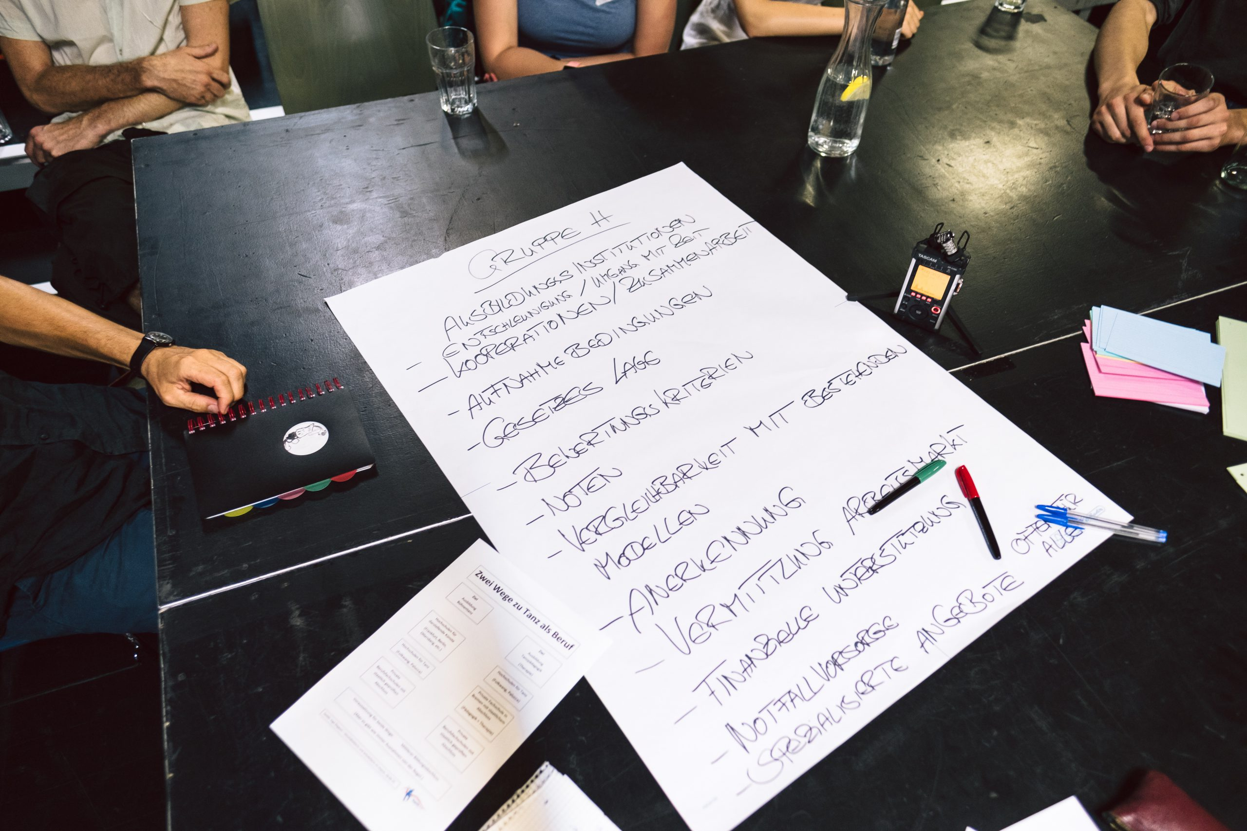 Ein Blatt Papier mit Schrift auf einem Tisch