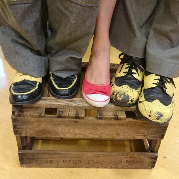 Fünf Beine auf einer Kiste