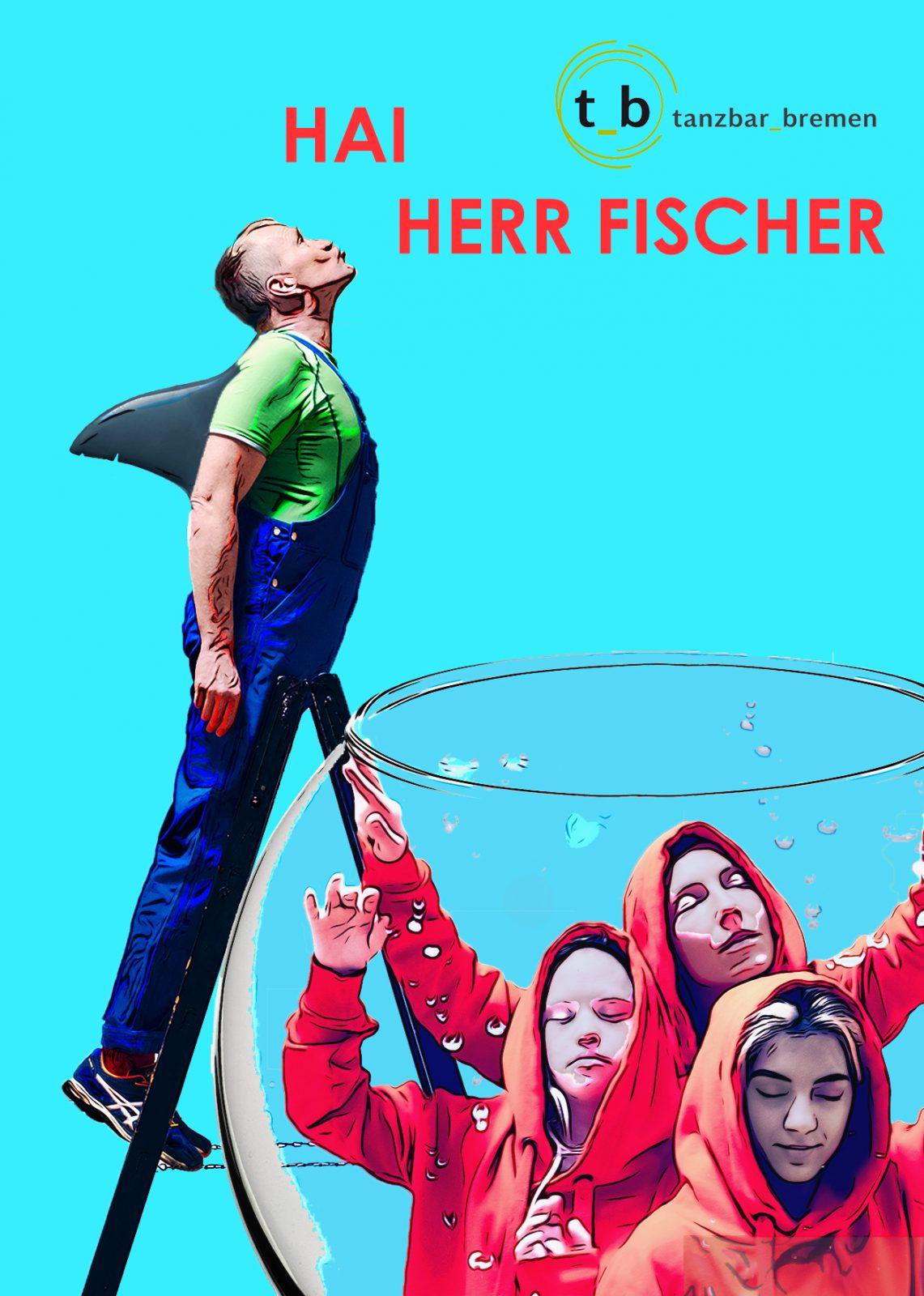 Ein Mann mit Haifischflosse am Rücken auf einer Leiter, drei Tänzerinnen