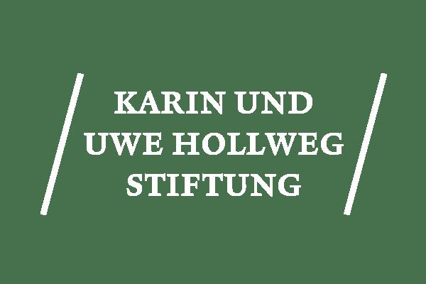 Logo der Karin und Uwe Hollweg Stiftung in weiß